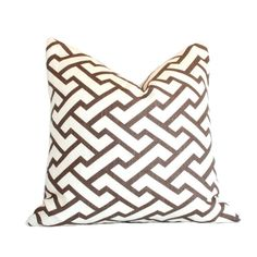 Aga Brown  Quadrille  Designer Pillow Cover 10x18 by AriannaBelle