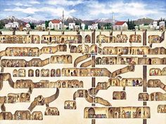 Cappadocia, Turkey - depicts the 7 level underground city with shops and churches, areas in which the residents produced wine, and even schools. The underground cities are believed to have been hiding places for Christians avoiding persecution from the Roman Empire,