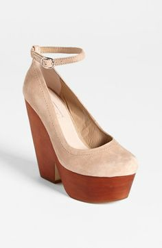 Platforms are being seen more in heels all over the fashion world. A chunky heel often is seen as well, almost making the heel into a wedge. Jaden J.