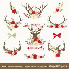 """Floral Christmas Deer Horn Clip Art. """"CHRISTMAS CLIP ART"""". Floral Antlers Clip Art. 11 images, 300 dpi. Eps, Png files. Instant Download. by Graphikcliparts on Etsy"""