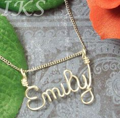 Name Necklace in Silver or Gold Enameled Wire