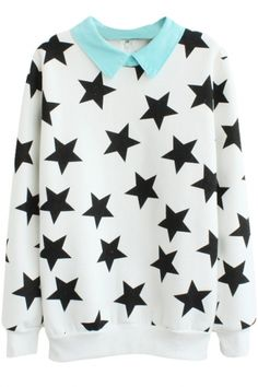 Contrast Collar Star Print Sweatshirt White Black Red, sweater, astronomy