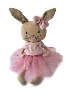 Rabbit in a pink dress Stuffed toys rabbit by HandmadeToyStore