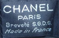 Chanel label from a pair of late 1930s gloves.