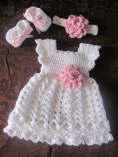 Items similar to Newborn Baby Dress, Shoes & Headband Set With Matching Baby Blanket, Coming Home Dress, Hand Crochet Baby Blanket, Pink and White Baby Set on Etsy Crochet Baby Dress Free Pattern, Crochet Doll Dress, Baby Girl Crochet, Crochet Baby Clothes, Baby Blanket Crochet, Baby Knitting Patterns, Baby Patterns, Hand Crochet, Crochet Patterns