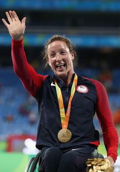 Tatyana McFadden of the United States celebrate winning the gold medal in the Women's 5000m - T54 Final on day 8 of the Rio 2016 Paralympic Games at the Olympic Stadium on September 15, 2016 in Rio de Janeiro, Brazil.