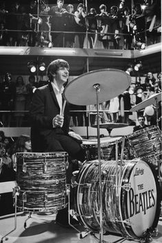 """Ringo playing at the """"Round The Beatles"""" TV show in 1964."""