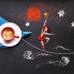 Маленькие кофейные истории-картины итальянской художницы Cinzia Bolognesi