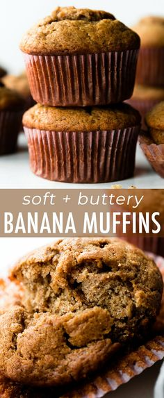 These banana muffins are soft, buttery, and spiced with cinnamon. You need 3 spo… These banana muffins are soft, buttery, and spiced with cinnamon. You need 3 spotty bananas and a few basic kitchen ingredients to get started! Recipe on sallysbakingaddic… Healthy Banana Muffins, Best Banana Muffins Ever, Banana Bread Muffins, Mini Tortillas, Sallys Baking Addiction, Unsweetened Applesauce, Banana Recipes, Recipes With Bananas, Cookies