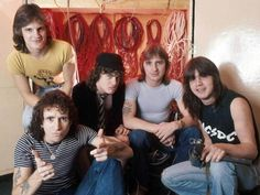 In Holland in 1976 ... ACDC, from left, Mark Evans, Bon Scott, Angus Young, Phil Rudd & Malcolm Young.