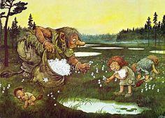 Nordic Thoughts: A dream of fluffy, white cotton-grass Fairies Mythology, John Bauer, Mushroom Art, Funny Illustration, Comic, Diy Painting, Faeries, Watercolor Art, Illustrators
