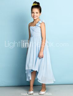 Lanting Bride® Asymmetrical Chiffon Junior Bridesmaid Dress - Mini Me A-line One Shoulder with Flower(s) / Criss Cross 2017 - $49.99