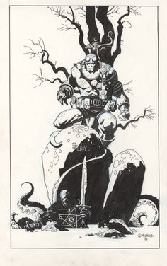 Early Hellboy drawing by Mike Mignola.  I like the contrast on this one, the level of detail, and the Frazetta-like composition.