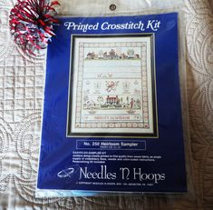 COLONIAL SAMPLER STAMPED CROSS STITCH KIT NEEDLES 'N HOOPS SEALED GREAT XMAS GT  | eBay