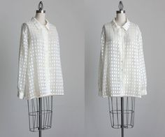 SHEER WHITE BLOUSE 1990s Vintage Ivory White And Gold by decades, $28.00
