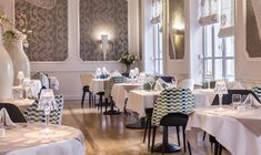 Hotel and Restaurant Furniture for Les Nations in Vichy Hotel Restaurant, Restaurant Furniture, Hotel S, At The Hotel, Restaurants, Bar Stools, Family Room, Interior Decorating, Table Settings