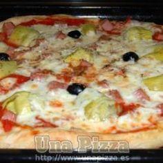 Pizza de Jamon york y Alcachofas