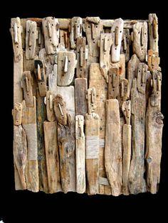 Marc Bourlier - Pintor, Escultor - Esculturas y Obras, Driftwood, Pintura - Singular Art / / At first, I didn't see the faces! Driftwood Sculpture, Art Sculpture, Driftwood Art, Sculptures, Land Art, Drawn Art, Inspiration Art, Assemblage Art, Outsider Art