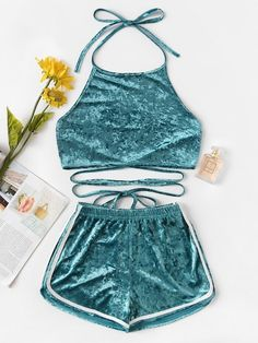 Shop Halter Velvet Top With Elastic Waist Shorts at ROMWE, discover more fashion styles online. Cute Lazy Outfits, Cute Outfits For School, Teenage Outfits, Cool Outfits, Girls Fashion Clothes, Teen Fashion Outfits, Swag Outfits, Cute Pajama Sets, Cute Pajamas