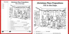 * NEW * Christmas Place Prepositions Fill in the Gaps Activity Sheet