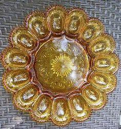 Vintage Indiana Glass Amber Deviled Egg Tray 2411  | eBay
