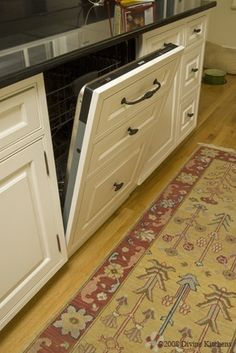 Love the way they made the dishwasher look like the front of the cabinets.