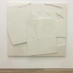 """#WyattKahn """"Pressure"""" (2016). His show at #xavierhufkens opens today. Go and see his experiments with layers of unprimed linen stretched across wooden frames investigating the boundaries between painting sculpture and drawing."""