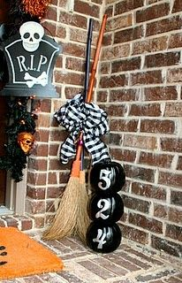 "Halloween front door decoration - love the broom!  Needs a big sign that says ""The Witch is In""."