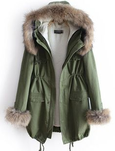 green fur hooded coat.
