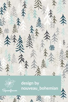 Hand illustrated trees and snow design by nouveau_bohemian.  Beautiful pine trees and snow on a textured background. Winter wonderland in a whimsical illustration with tiny cabins and smoke.  #design #fabric #wallpaper #interior #homedecor
