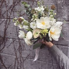 Bohemian Bridal Bouquet in white and sage.  Hand crafted at stems brooklyn.com