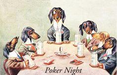 "Dachshund Dogs Playing Poker on ""Poker Night"" Postcard Print"