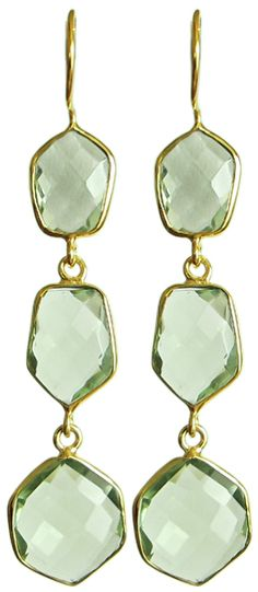 gold green gemstone earrings
