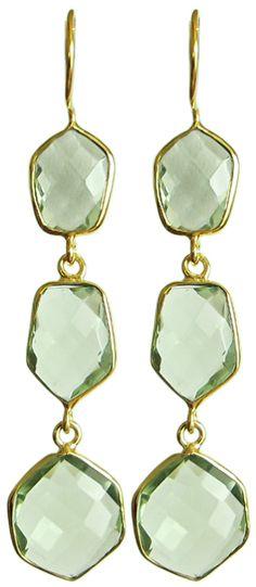 gold green gemstone earrings