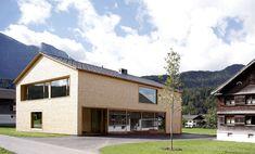 Jürgen Haller - Projekte Silver Fir, Elevator Design, Kindergarten, Wooden Buildings, Passive House, Window Frames, Building Materials, Outdoor Spaces, Facade