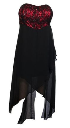 Plus size Sequined Bodice High-Low Chiffon Dress Red Black eVogues Apparel. $39.99