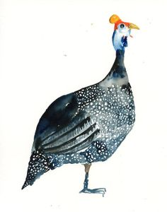 For a Dad HELMETED GUINEAFOWL Original watercolor painting 10X8inch