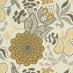 DAHLIA OUTDOOR fabric: Tinsel  Possible curtains- yellow, cream, gray floral print from Calico Corners