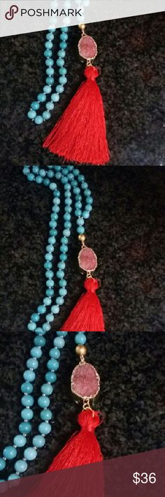 JUST IN DRUZY Beautiful druzy necklace. Turquoise colored beads with red druzy and tassel. Jewelry Necklaces