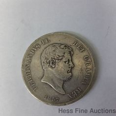 Moneta Anti Ca 1857 Ferdinand Italian States Solid Silver Coin Italian States