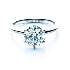 Brides.com: Round-Cut Engagement Rings. Tiffany setting engagement ring in platinum, Tiffany & Co. See more Tiffany & Co. engagement rings.