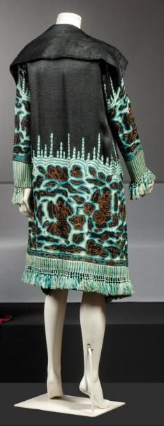 Ottoman coat embroidered black silk motifs in Japanese-chain stitch,  turquoise, brown decorated with pompoms. ae74b54e5ce