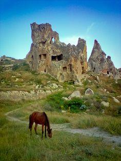 Grazing Horse & Ruins, Capadocia Turkey [Lightroom 3 - Redux]