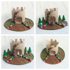 Rainbow Castle Playscape Play Mat felt pretend open-ended storytelling fantasy fairytale storybook fairy woodland make believe princess toy by MyBigWorld2015 on Etsy