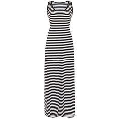 Yoins Striped Maxi Tank Dress (34 BAM) ❤ liked on Polyvore featuring dresses, black, nautical stripe dress, a line dress, striped flare dress, tank top dress and nautical striped dress