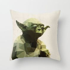 Yoda Star Wars Pillow Cushion Cover Polygon Art Home Decor Vintage Style Science Fiction Sci Fi Character