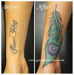 Peacock feather tattoo cover up