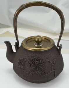 Cast Iron Tea Pot (Teapot) / Tea Kettle (Teakettle) - Peony & Bee I, Light Brown Tea Kettles, Antique China, Tea Sets, Teapot, Peonies, Cast Iron, Pots, Japanese, Amazon
