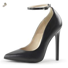 Womens Black Ankle Strap Heels Pointed Toe Pumps Stiletto 5 Inch Heels Shoes Size: 14 - Summitfashions pumps for women (*Amazon Partner-Link)