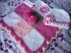 poncho quadretti e cappellino poncho acrilico+lana lavoratto al ...